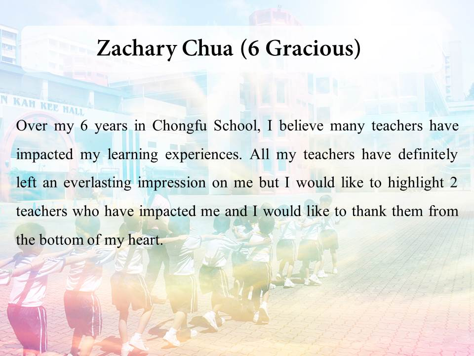 Teacher's Day message by students – Chongfu School