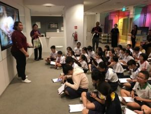 Students being briefed at the start of the session at the National Gallery Singapore.