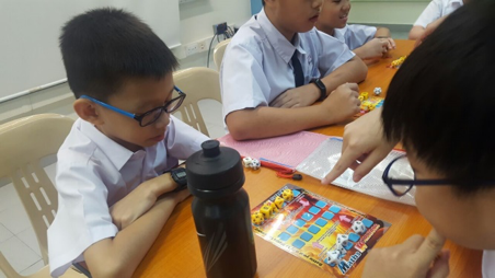 Students playing the Math Warrior game.