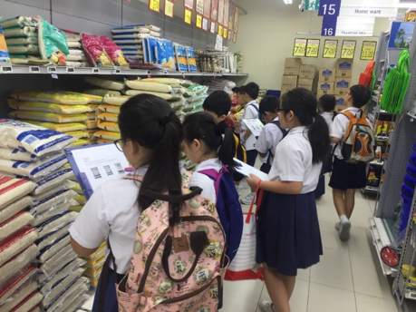 Students applying what they have learnt in the topic of Money in a real-life context – a supermarket. They compared prices and had to spend within a stipulated budget.