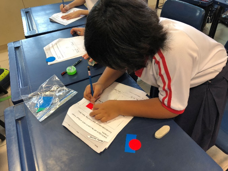 Students learn how to draw the shapes by tracing the manipulatives given. Hence, they are learning maths through a hands-on approach.