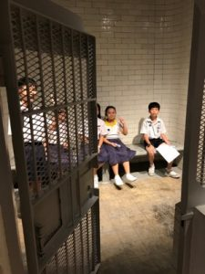 Students at the old jail cells at the Supreme Court Building.